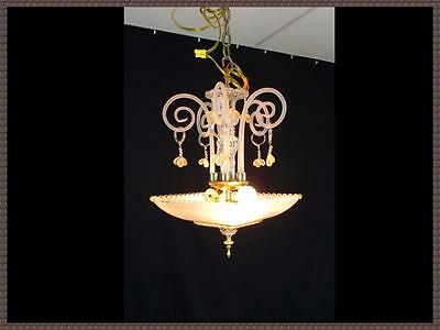 Vintage Square Art Deco Shade Chandelier Light Fixture Gorgeous Crystal Scrolls