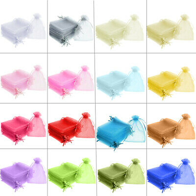 100/25 5x7cm ORGANZA GIFT BAGS Wedding Favour Gift Bags Jewellery Pouches Xmas
