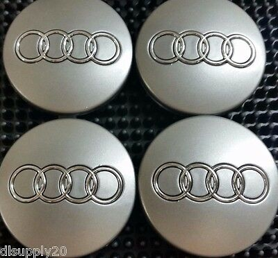 Audi Wheel Center Cap Gray Chrome Logo 60 MM, Fit A3, A4, A6, A8, TT, Q7, S4, S6