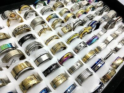 Wholesale Lots 50 pcs mix Style stainless steel rings fashion jewelry Band Rings