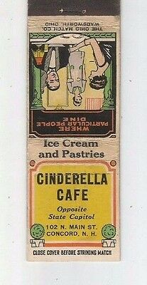 MATCHBOOK COVER Cinderella Cafe Concord New Hampshire Ice Cream & Pastries