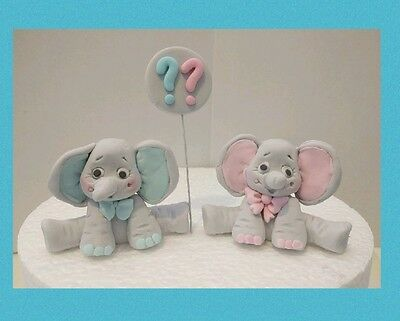 New 2x  ELEPHANT  Edible Cake Cupcake Topper gender reveal Birthday  Baby Shower