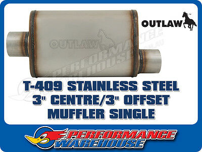 """Outlaw T-409 Stainless Steel Offset Muffler Centre/offset 3"""" Performance"""