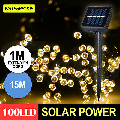 100LED 15M Solar Power String Fairy Light Outdoor  Party Lamp Waterproof