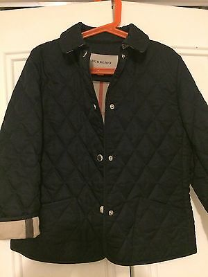 Genuine Burberry Girls Quilted Coat  Age 8 Years Navy Blue