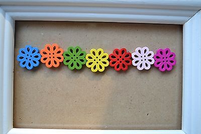 FLOWERS WOODEN 7 Embellishments Scrapbooking Craft Buttons Earrings Cute Bright