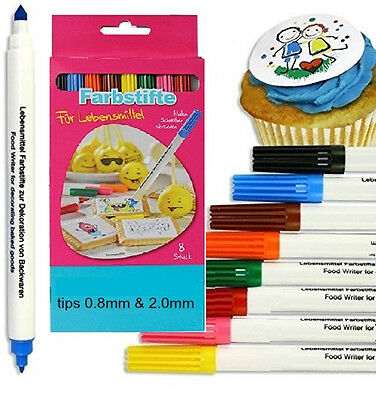 8x DOUBLE SIDED EDIBLE INK WRITER Food Pens Color Marker Cake Sugarpaste Cupcake