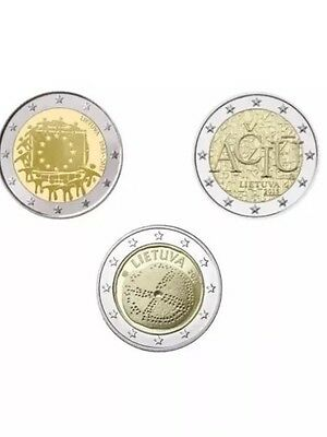Lithuania 2 Euro 3 Coins All Commemorative 2015/16 New BUNC from Roll