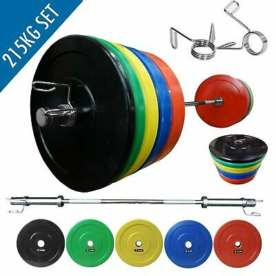 BodyRip IWF Olympic Bumper Weight Plate Set Of 215Kg Including 7FT Barbell
