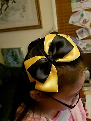 Madelienas  SATIN RIBBON .My inspired Emma Wiggle LARGE Bow w/ y.gold  Headband