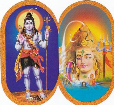 Lord Shiva Hindu Diety Shiv Double Sided Washable Sticker Indian God - Pack of 2