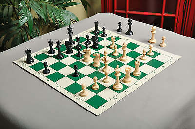 """USCF Sales Competition Plastic Chess Set - Pieces Only - 3.75"""" Black & Natural"""