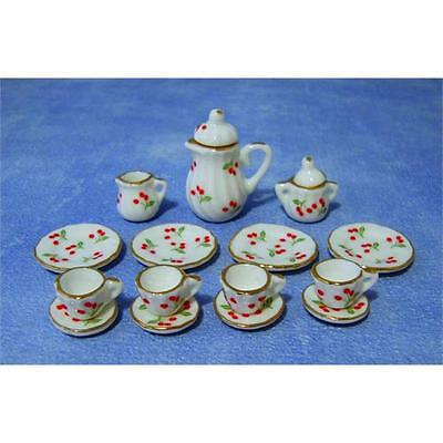 1/12th Scale Dolls House 15 Piece Tea Sets Red Cherry