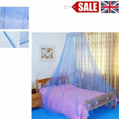 Blue Mosquito Net Bed Canopy Netting Curtain Dome Fly Midges Insect Stopping