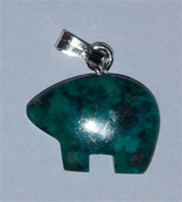 Native American Indian Jewelry BEAR real turquoise authentic handmade pendant