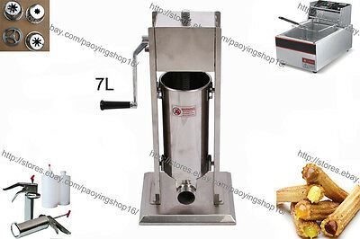 7L Manual Spanish Churro Donut Maker Machine w/ 6L Electric Fryer & 700ml Filler