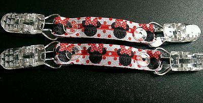 Mitten clips gloves Minnie Mouse elasticated ribbon no more lost gloves!