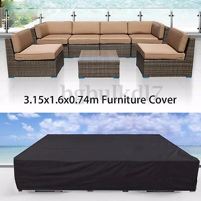 "125"" Waterproof Outdoor Rectangular Patio Furniture Table Chairs Protector Cover"