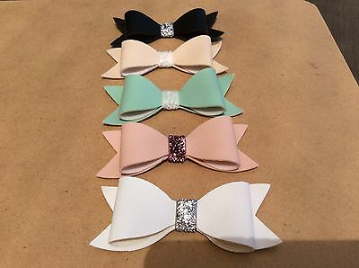 Leather Bow Hair clips or Headband - Baby/Toddler/Girl