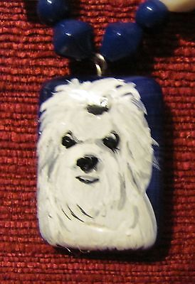 Maltese hand painted on small, rectangular pendant/bead/necklace