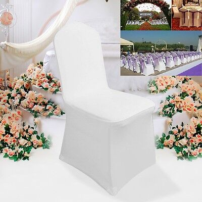 100pcs White Flat Front Covers Spandex Lycra Chair Cover Wedding Party UK