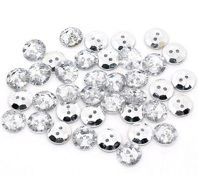25 Faux diamond buttons 13mm silver plated backing sewing Free UK Postage