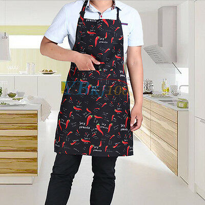 Polyester Cute Kitchen Restaurant  Men Women Bib Cooking Aprons Gift With Pocket