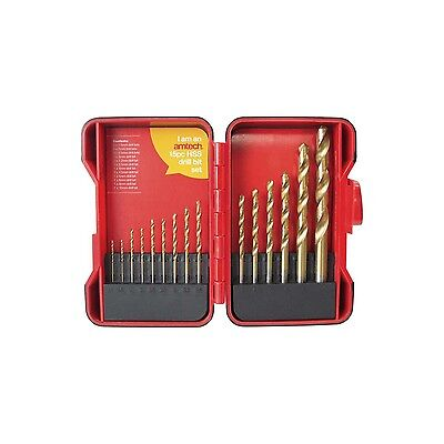 15 Piece Hss Drill Bit Set Titanium Coated In Storage Case Professional Quality