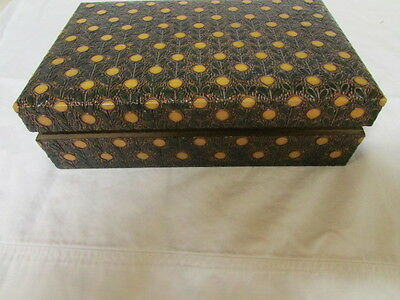 Rectangle Antique Wooden Box with Carved and Painted Patterns
