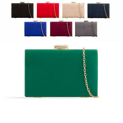 Ladies Suede Style Box Clutch Bag Evening Bridal Wedding Handbag Purse KZ672