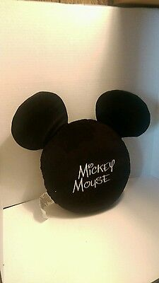 Mickey Mouse Decorative Round Pillow Black With Ears