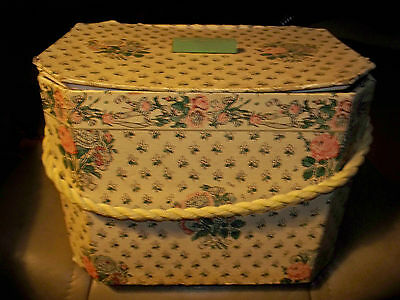 Antique Paper Heavyweight Cardboard Sewing/Hat Box, Strap & Cover w/ Wooden Nob