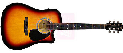 Fender Squier Dreadnought Cutaway, SA-105CE, Sunburst Electro Acoustic Guitar