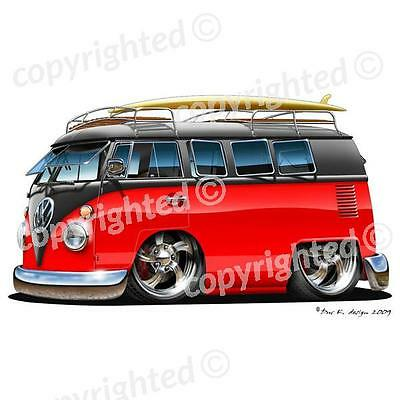 3D PICTURE 400mm x 300mm V W CAMPER VAN RED AND BLACK