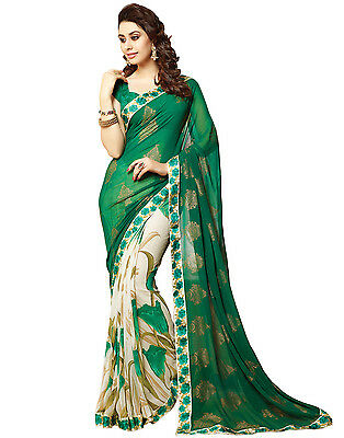 Bollywood style Indian Latest designer Sari / Saree with Blouse Green color