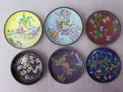 Lot Of 6 Antique Chinese Metal (Copper) Painted Dishes Plates