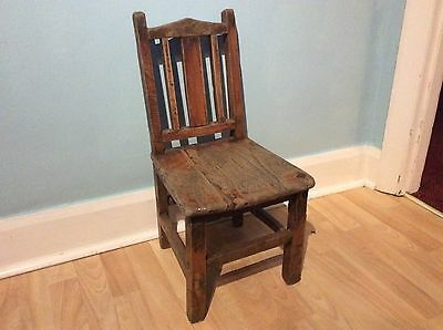 Antique American mission style oak child's chair c1895-1920