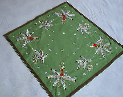Vintage Christmas Hand embroidered Tablecloth runner with Lovely Xmas Candles