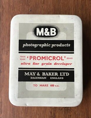 Vintage Promicrol Photographic Film Chemical Tin Developer May & Baker