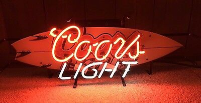 Rare Coors Light Neon Surfboard Wave Ocean Beer Bar Pub Mancave Nice Condition