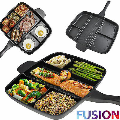 Non Stick Multi-Section 5 In 1 Master Frying Pan Grill Cooked Breakfast & More