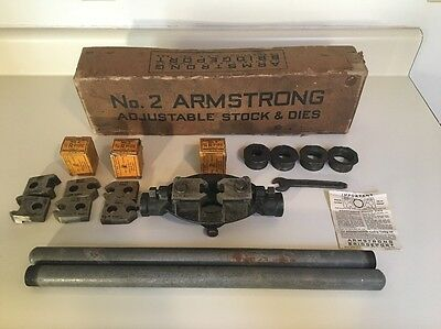 Armstrong Bridgeport No. 2 Adjustable Stock & Die Set - Pipe Threader - Antique