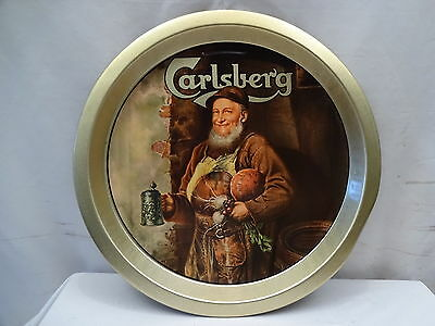 Old Carlsberg Beer Antique  Advertisement Vintage Tin Serving Tray Collectible