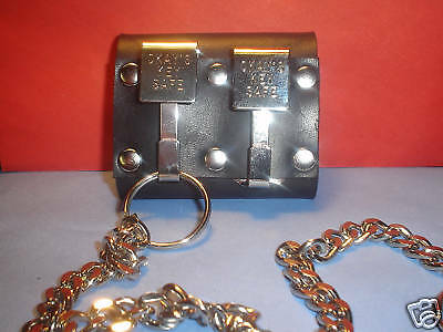 OKAY'S KEY SAFE NICKEL PLATED DOUBLE CLIP LEATHER BELT KEY HOLDER  w/ chain ~USA