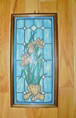 Large Framed Faux Stained Glass Flower Window Panel Display-Orange Irises