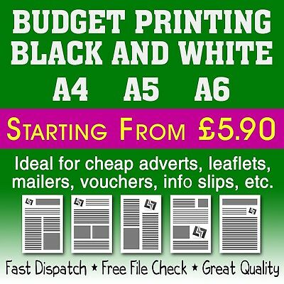 A4 A5 A6 DL Black & White Cheap Budget Printing Flyer/Mailing/Leaflet Drop 80gsm