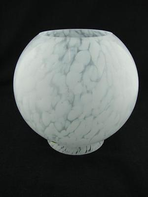"Early 20Th C White Cloud Effect / Marbled Glass Oil Lamp Globe Shade 4"" Fitter"