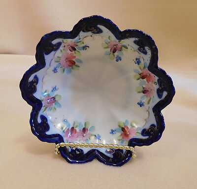 Antique Porcelain China Hand Painted Bowl w/ Scalloped Blue Edge, BEAUTIFUL!