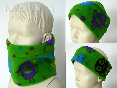 Infant boys girls GREEN scary fun MONSTER ALIEN NECK WARMER fleece SCARF snood