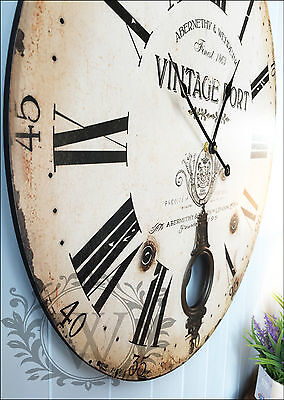 New 60cm Large Antique Wooden Round Wall Clock Vintage Shabby Chic Pendulum